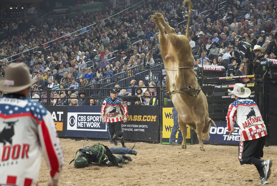 "Chase Outlaw hits the ground hard after getting bucked off of ""Big Kahuna"" during the Professional Bull Riders World Finals on Thursday, November 8, 2018, at T-Mobile Arena, in Las Vegas ..."