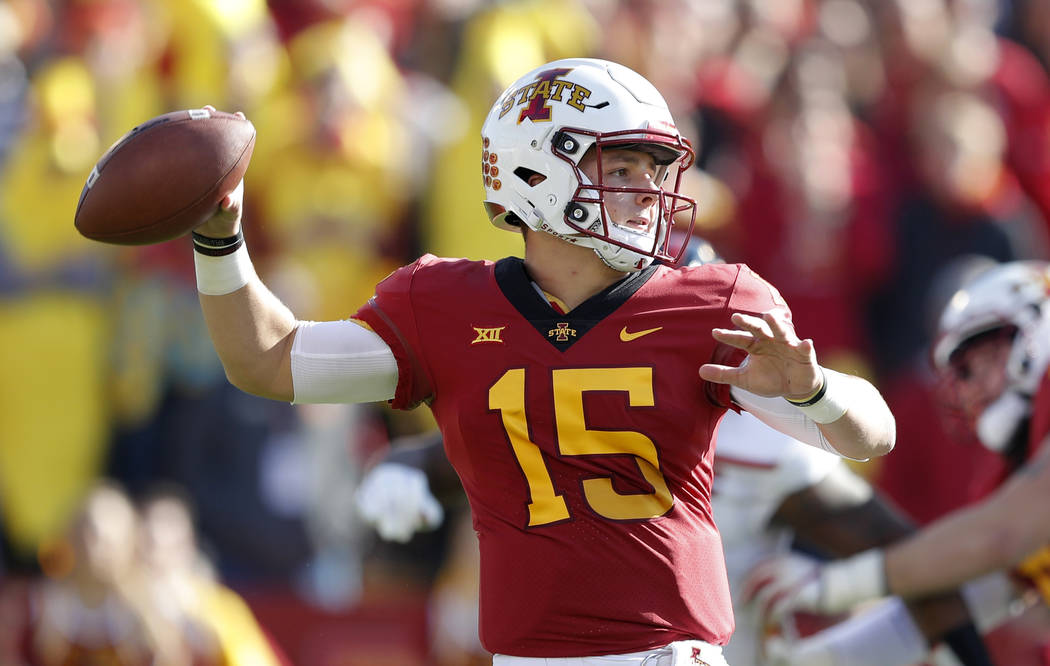 Iowa State quarterback Brock Purdy throws a pass during the first half of an NCAA college football game against Texas Tech, Saturday, Oct. 27, 2018, in Ames, Iowa. (AP Photo/Charlie Neibergall)