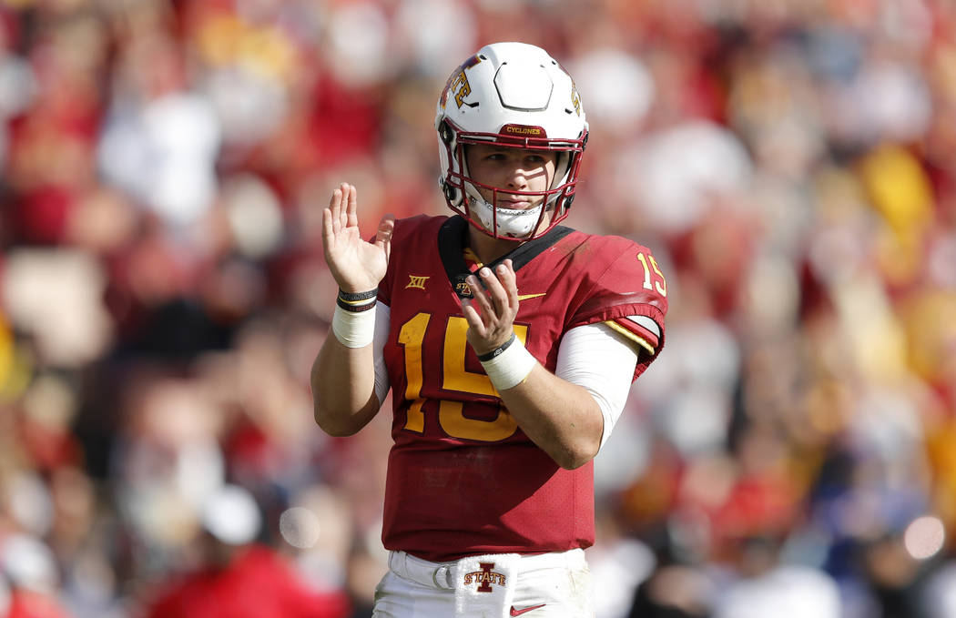 FILE - In this Oct. 27, 2018, file photo, Iowa State quarterback Brock Purdy reacts at the end of an NCAA college football game against Texas Tech, in Ames, Iowa. By claiming the starting job as ...