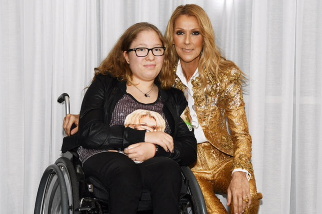 Reidun Vevelstad is Celine Dion's biggest fan in the community named for Vevelstad's family in Northern Norway. She is shown with Celine at the Colosseum at Caesars Palace on Nov. 2, 2018. (Ca ...