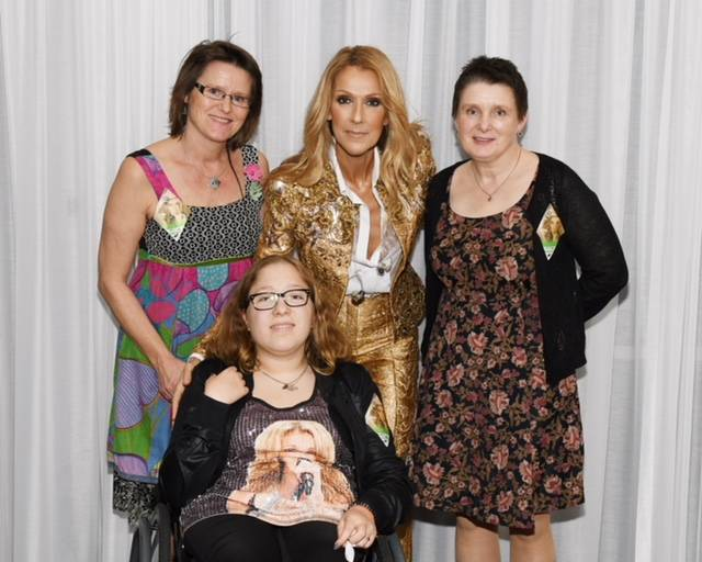 Reidun Vevelstad is Celine Dion's biggest fan in the community named for Vevelstad's family in Northern Norway. She is shown with her aunt, Enid, upper left; and mother, Sigrid, backstage with ...