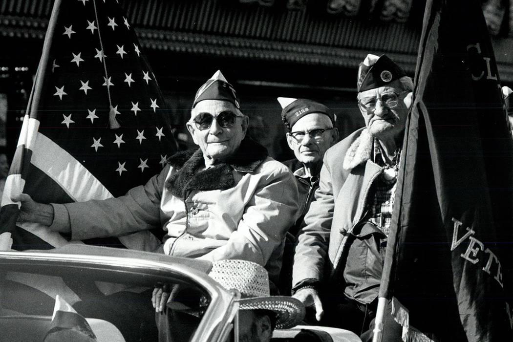 VFW members ride in the 1982 Veterans Day Parade in Las Vegas. (Wayne Kodey/Las Vegas Review-Journal)
