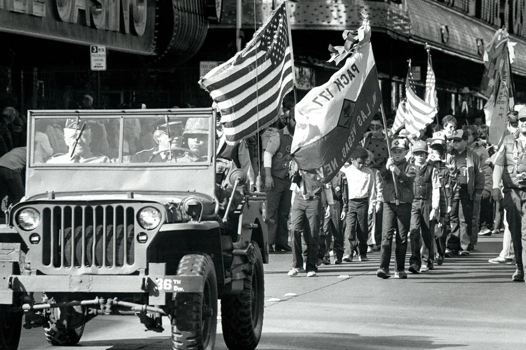 Cub Scouts march in the 1982 Veterans Day Parade in Las Vegas. (Wayne Kodey/Las Vegas Review-Journal)