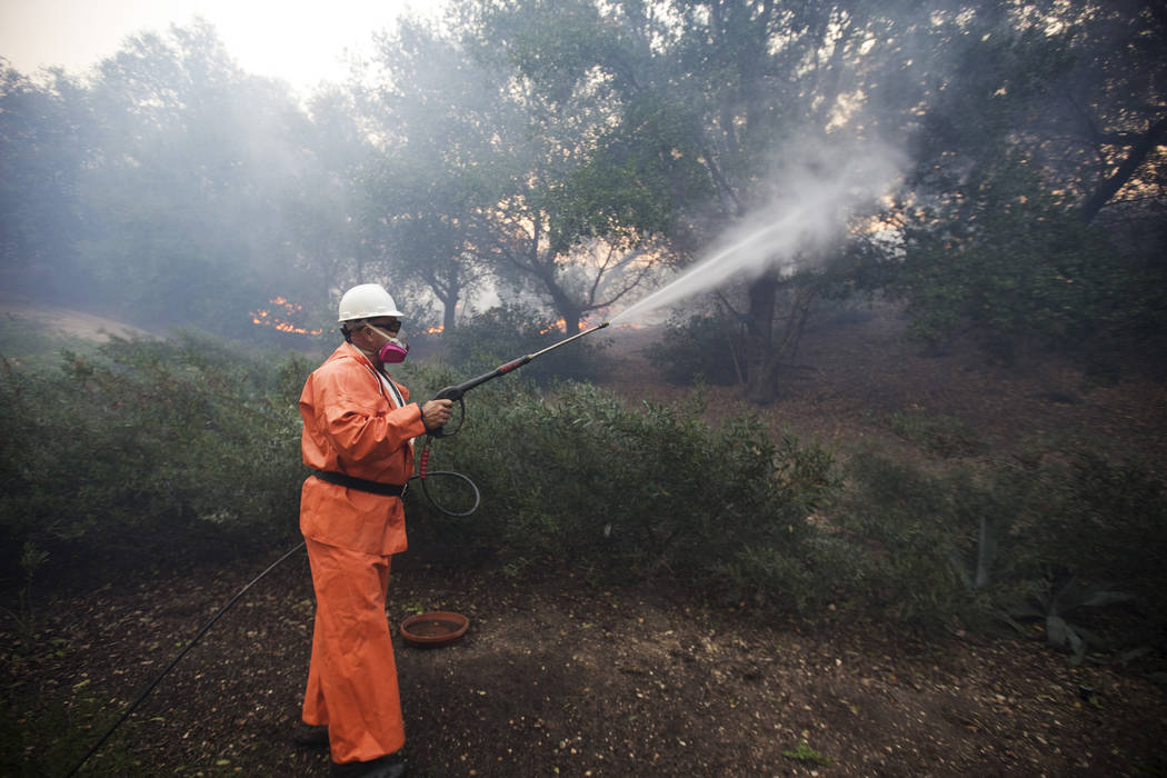 Jim Marzec waters down the plants and trees outside his townhouse as a wildfire encroaches on his neighborhood in Westlake Village, Calif., on Friday, Nov. 9, 2018. Richard Brian Las Vegas Review- ...