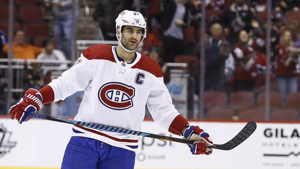 Montreal Canadiens left wing Max Pacioretty (67) pauses on the ice during the second period of an NHL hockey game against the Arizona Coyotes Thursday, Feb. 15, 2018, in Glendale, Ariz. The Coyote ...