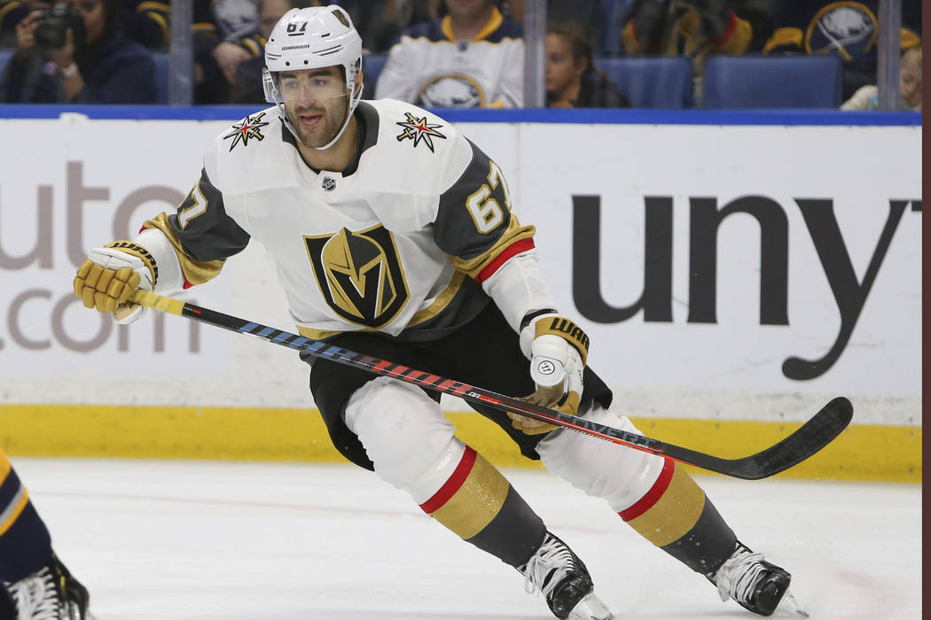 Vegas Golden Knights Max Pacioretty (67) skates during the first period of an NHL hockey game against the Buffalo Sabres, Monday, Oct. 8, 2018, in Buffalo N.Y. (AP Photo/Jeffrey T. Barnes)