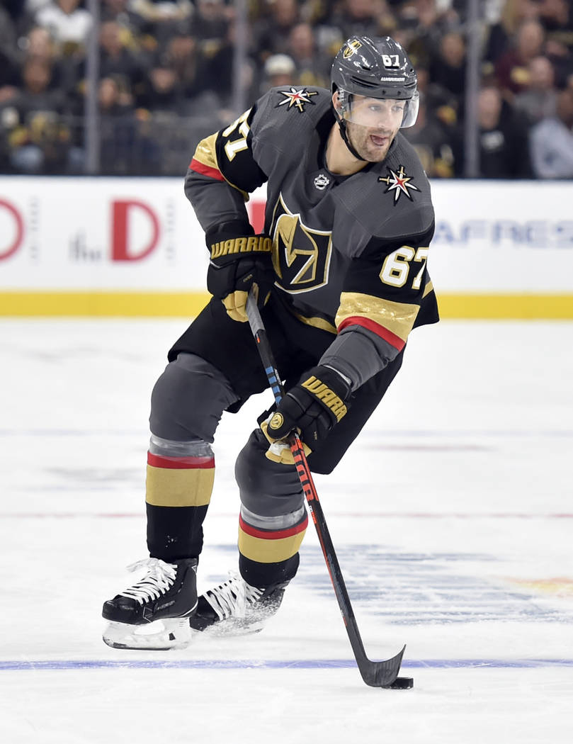 Vegas Golden Knights left wing Max Pacioretty (67) skates with the puck against the Buffalo Sabres during the second period of an NHL hockey game Tuesday, Oct. 16, 2018, in Las Vegas. (AP Photo/Da ...