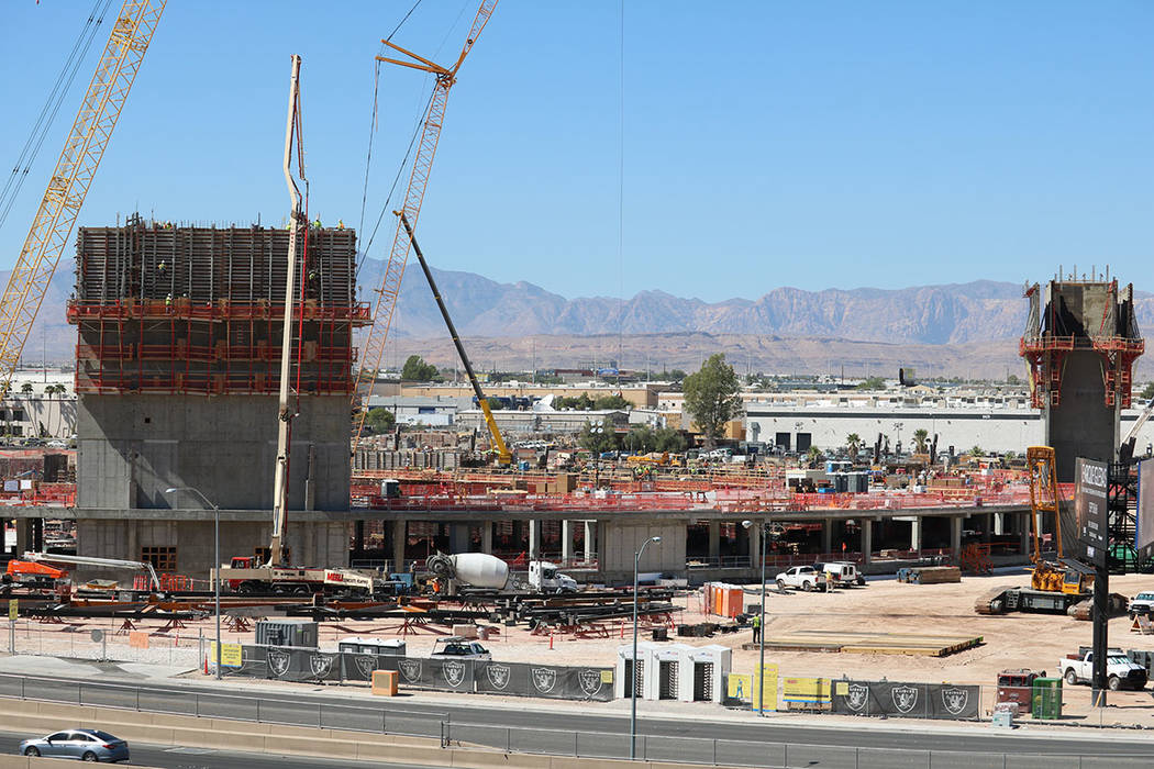 Construction at Las Vegas Raiders stadium as seen on September 11, 2018, in Las Vegas. (Mat Luschek/Las Vegas Review-Journal)