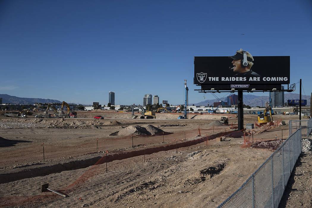 Construction at the future stadium site of the Raiders in Las Vegas, Tuesday, Feb. 6, 2018. Erik Verduzco Las Vegas Review-Journal @Erik_Verduzco