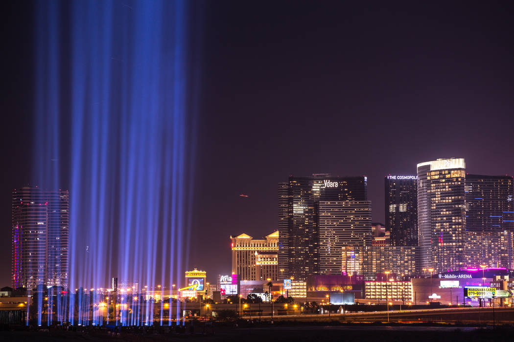 Fifty-eight lights in honor of the Oct. 1 shooting victims are lit up at the construction site of the Raiders stadium after the ceremonial groundbreaking in Las Vegas, Monday, Nov. 13, 2017. Joel ...