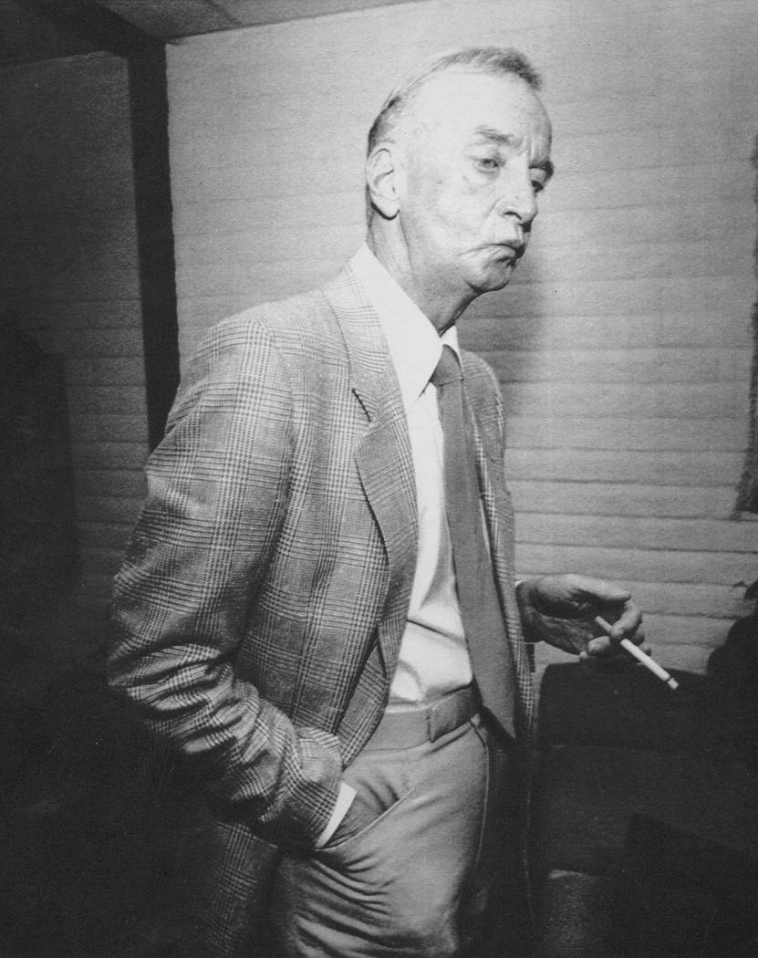 """Las Vegas casino operator Frank """"Lefty"""" Rosenthal smokes a cigerette after a hearing before the Nevada Gaming Commission in Carson City in 1988. The commission ruled against Rosenthal, placing him ..."""