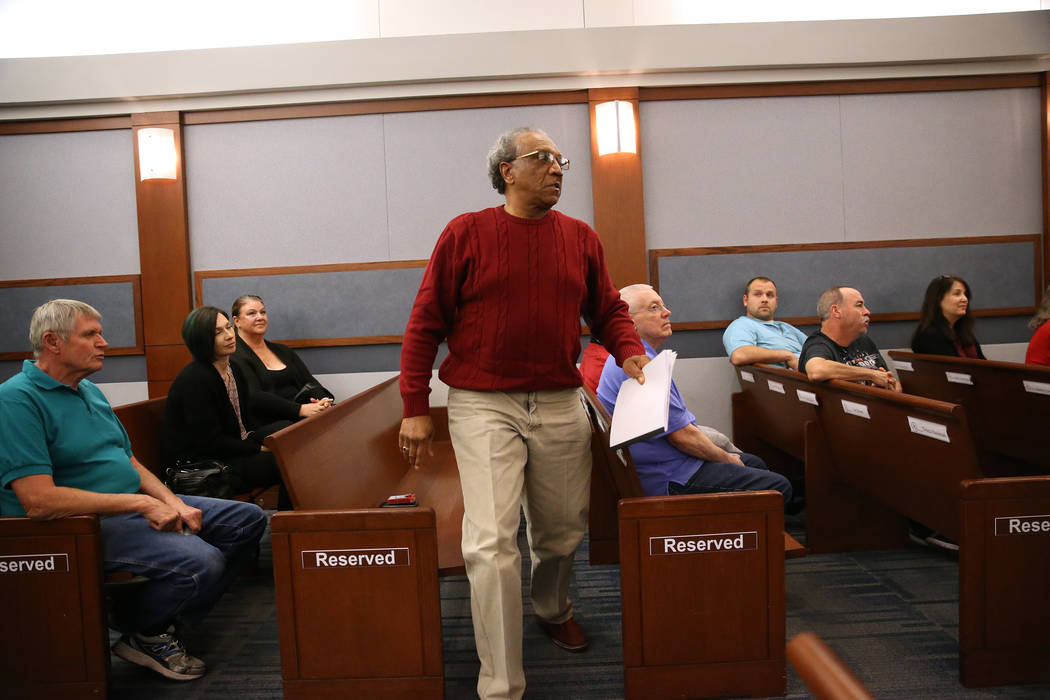 Army veteran Darrell Benford is recognized for his promotion during the Veterans Treatment Court Promotion and Graduation Day at the Regional Justice Center in Las Vegas, Friday, Nov. 9, 2018. Eri ...
