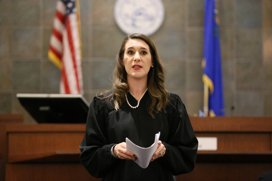 Judge Harmony Letizia speaks during the Veterans Treatment Court Promotion and Graduation Day at the Regional Justice Center in Las Vegas, Friday, Nov. 9, 2018. Erik Verduzco Las Vegas Review-Jour ...