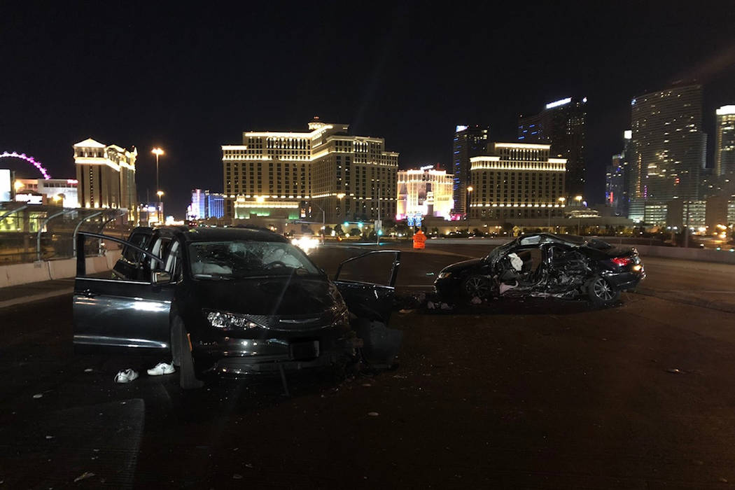 The driver of a Chrysler 200 sedan was killed Wednesday night and three others were injured in a crash on Flamingo Road near Interstate 15. (Nevada Highway Patrol)