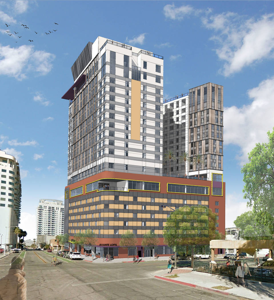 Kenny Lin filed plans to build Avante Lofts, seen in this rendering, at Hoover Avenue and Sixth Street. (Miro Development)