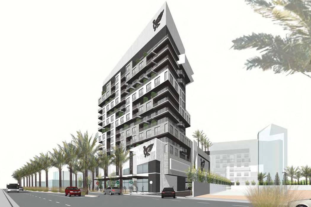 A rendering shows the 15-story apartment building, called Thunderbird Lofts, that investor Ilan Gorodezki plans to build on Las Vegas Boulevard between Sahara and Charleston. (Courtesy Ilan Gorod ...