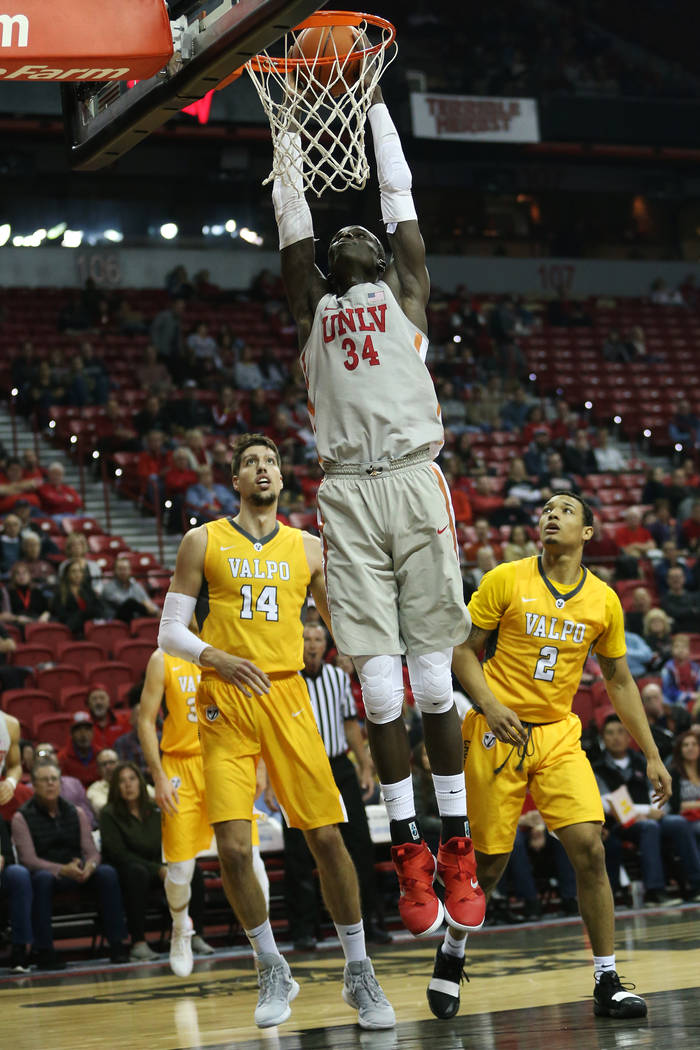 UNLV Rebels forward Cheikh Mbacke Diong (34) goes up for a basket against Valparaiso Crusaders during the first half of the basketball game at the Thomas & Mack Center in Las Vegas, Wednesday, ...