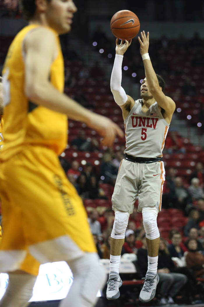 UNLV Rebels guard Noah Robotham (5) takes a shot against Valparaiso Crusaders during the first half of the basketball game at the Thomas & Mack Center in Las Vegas, Wednesday, Nov. 28, 2018. E ...