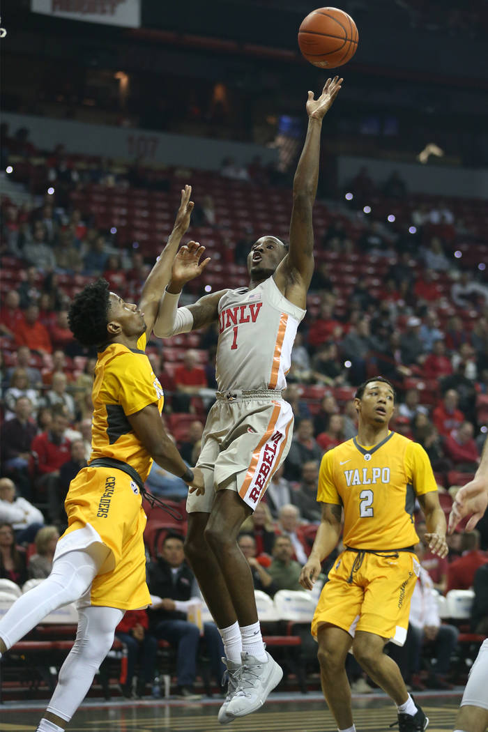 UNLV Rebels guard Kris Clyburn (1) takes a shot against Valparaiso Crusaders during the first half of the basketball game at the Thomas & Mack Center in Las Vegas, Wednesday, Nov. 28, 2018. Er ...
