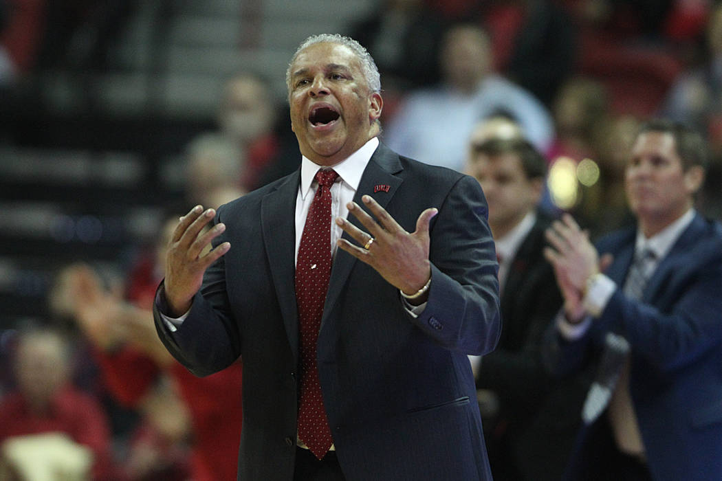 UNLV Rebels head coach Marvin Menzies reacts during a play against Valparaiso Crusaders in the first half of the basketball game at the Thomas & Mack Center in Las Vegas, Wednesday, Nov. 28, 2 ...