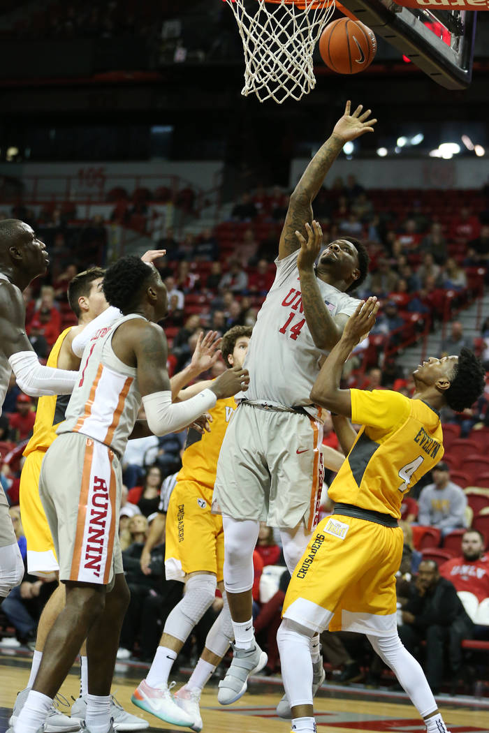 UNLV Rebels forward Tervell Beck (14) takes a shot against Valparaiso Crusaders during the second half of the basketball game at the Thomas & Mack Center in Las Vegas, Wednesday, Nov. 28, 2018 ...