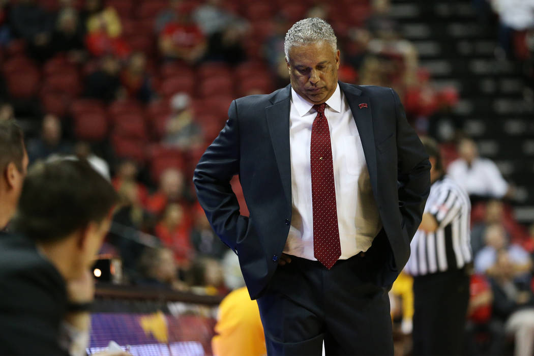 UNLV Rebels head coach Marvin Menzies reacts to a play against Valparaiso Crusaders during the second half of the basketball game at the Thomas & Mack Center in Las Vegas, Wednesday, Nov. 28, ...