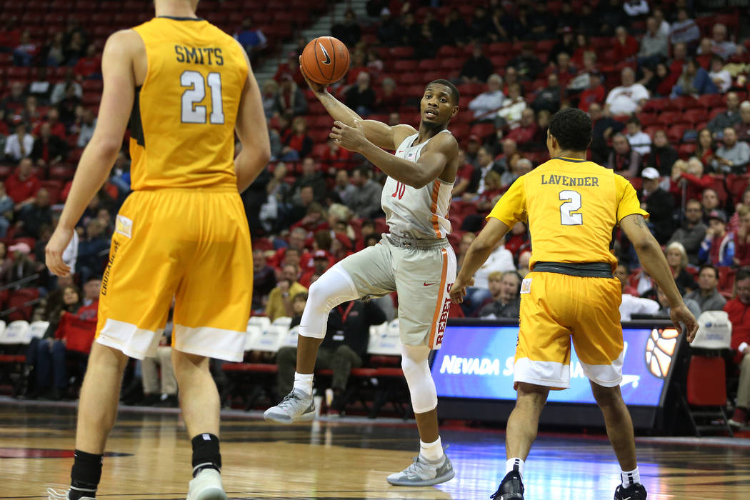 UNLV Rebels forward Shakur Juiston (10) looks for an open pass against Valparaiso Crusaders during the second half of the basketball game at the Thomas & Mack Center in Las Vegas, Wednesday, N ...