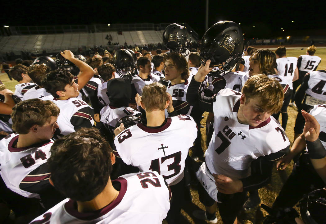 Faith Lutheran players celebrate their win over Canyon Springs in a Mountain Region football semifinal game at Canyon Springs High School in North Las Vegas on Friday, Nov. 9, 2018. Chase Stevens ...