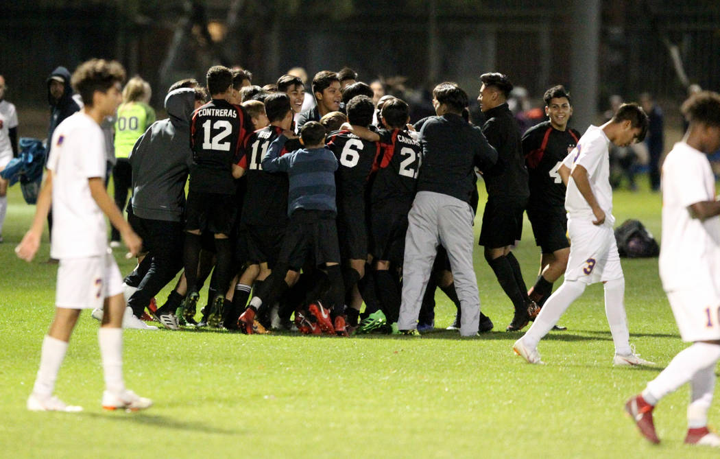 Las Vegas celebrates their win over Durango in their Class 4A state boys soccer semifinal game at Bettye Wilson Soccer Complex in Las Vegas Friday, Nov. 9, 2018. K.M. Cannon Las Vegas Review-Journ ...