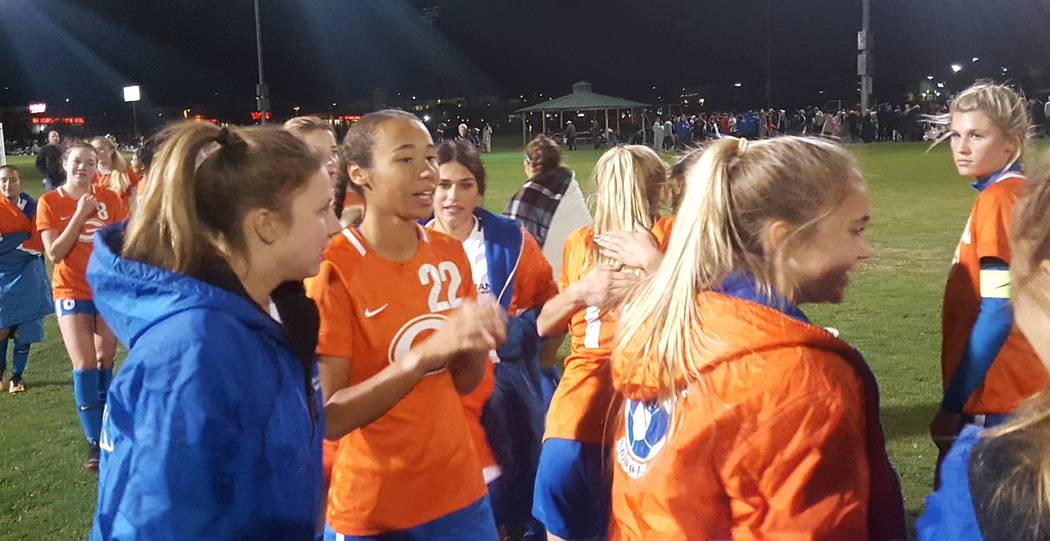 Bishop Gorman defender Kennedy Enus (22) was instrumental in the Gaels' defensive effort during a 3-2 win over Palo Verde in the Class 4A state semifinal against Bishop Gorman on Friday, Nov. 9, 2 ...