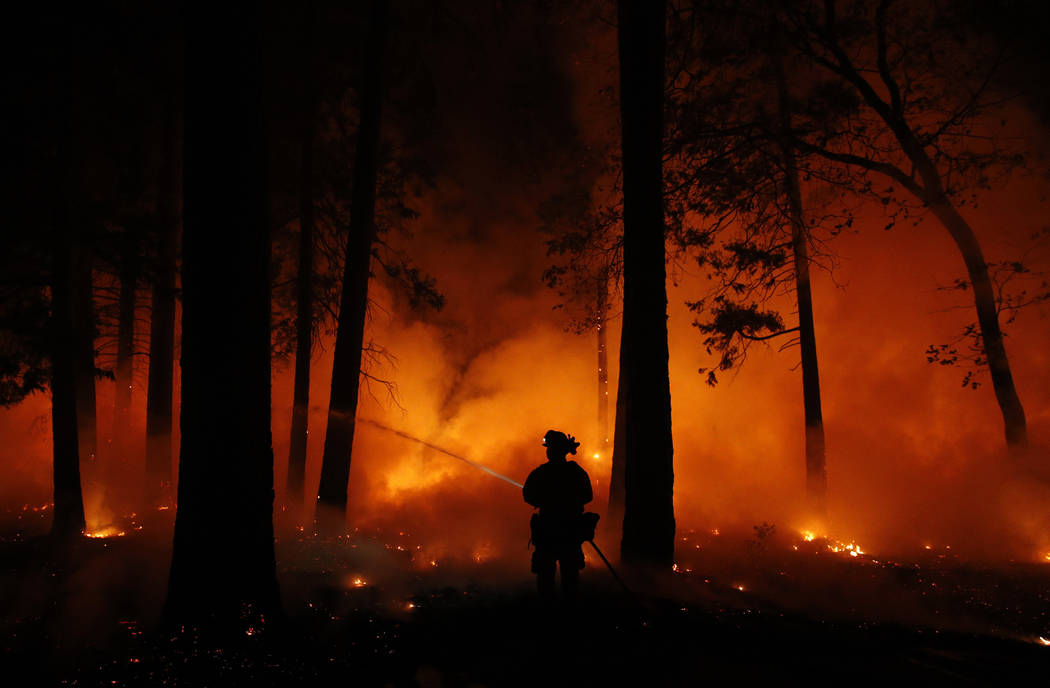 A firefighter sprays water on a controlled burn at a wildfire, Friday, Nov. 9, 2018, in Magalia, Calif. (AP Photo/John Locher)