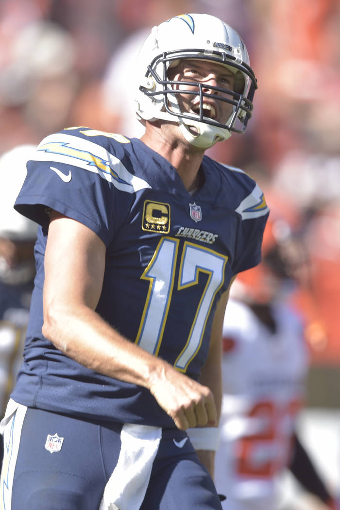 Los Angeles Chargers quarterback Philip Rivers (17) in action during an NFL football game against the Cleveland Browns, Sunday, Oct. 14, 2018, in Cleveland. The Chargers won 38-14. (AP Photo/David ...