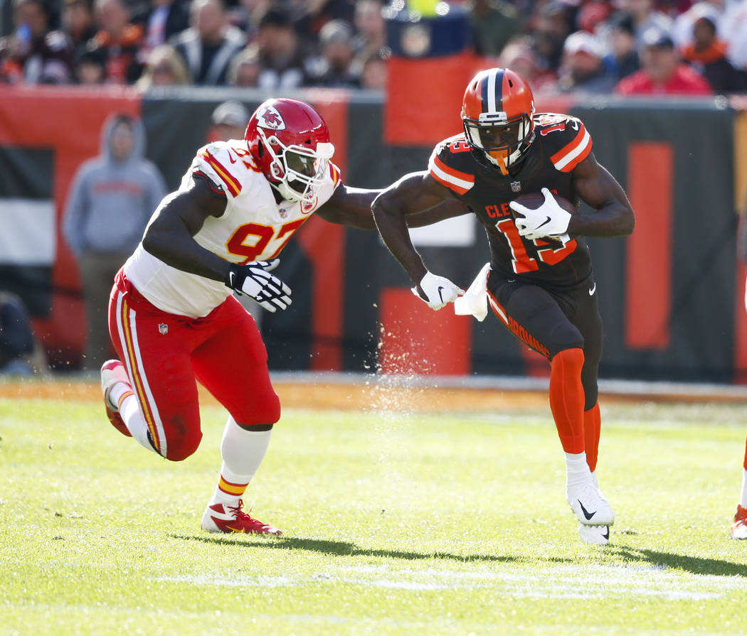 Cleveland Browns Wide Receiver Breshad Perriman 19 Plays Against Kansas City Chiefs Defensive End Allen Bailey 97 During The First Half Of An Nfl Football Game Sunday Nov 4 2018 In Clevel