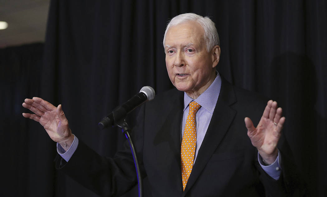 U.S. Sen. Orrin Hatch, R-Utah gestures as he speaks during the UTGOP election night party in Salt Lake City on Nov. 6, 2018. (Ravell Call/The Deseret News via AP) /The Deseret News via AP)