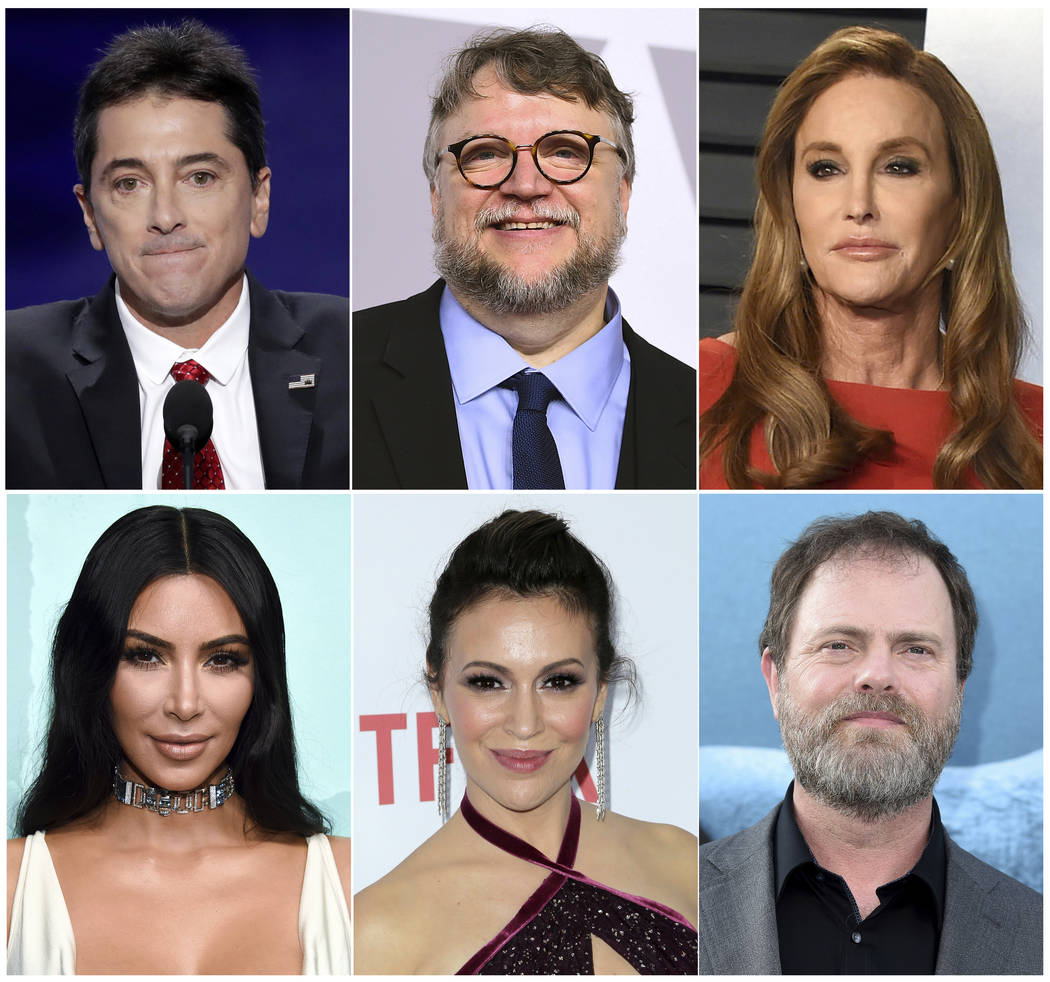 This combination photo shows celebrities, top row from left, Scott Baio, Guillermo del Toro, Caitlyn Jenner and bottom row from left, Kim Kardashian, Alyssa Milano and Rainn Wilson, who have been ...