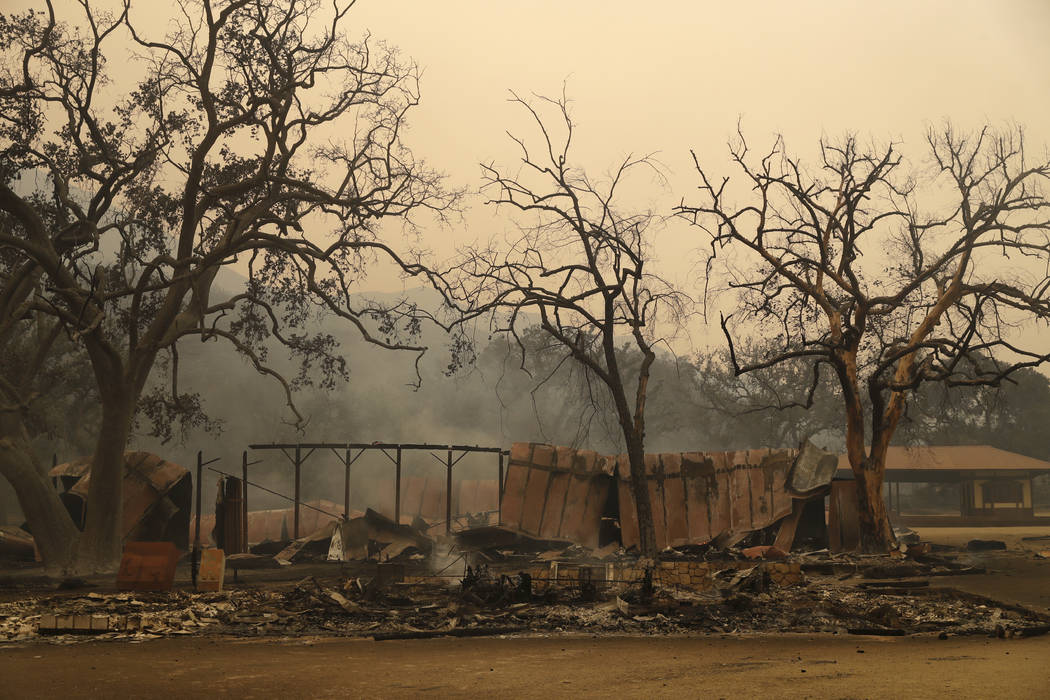 Paramount Ranch, where a number of Hollywood westerns have been filmed, is seen after it was decimated by a wildfire Friday, Nov. 9, 2018, in Agoura Hills, Calif. (AP Photo/Marcio Jose Sanchez)