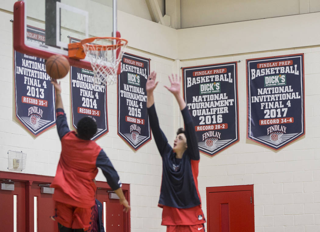 Findlay Prep warms up before the start of the Pilot's home matchup with Bella Vista College Prep on Friday, November 9, 2018, in Henderson. Benjamin Hager Las Vegas Review-Journal