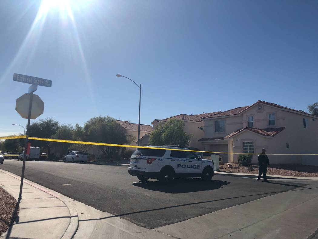 North Las Vegas police investigate a shooting involving a 3-year-old boy at the intersection of Emerald Stone Avenue and Drifting Pebble Street in North Las Vegas. Briana Erickson Las Vegas Review ...