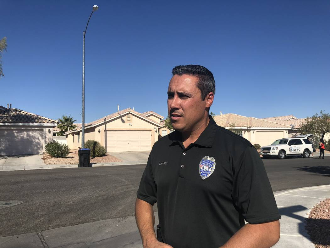 North Las Vegas Police Officer Aaron Patty gives a press conference at the scene of an accidental shooting that left a 3-year-old boy in critical condition on November 10, 2018. Briana Erickson La ...