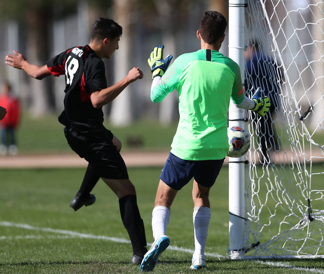 Las Vegas' Sergio Aguayo (18) connects with the ball with his head for a score during the second half against Coronado in the 4A boys state soccer championship game at the Bettye Wilson Soccer Com ...