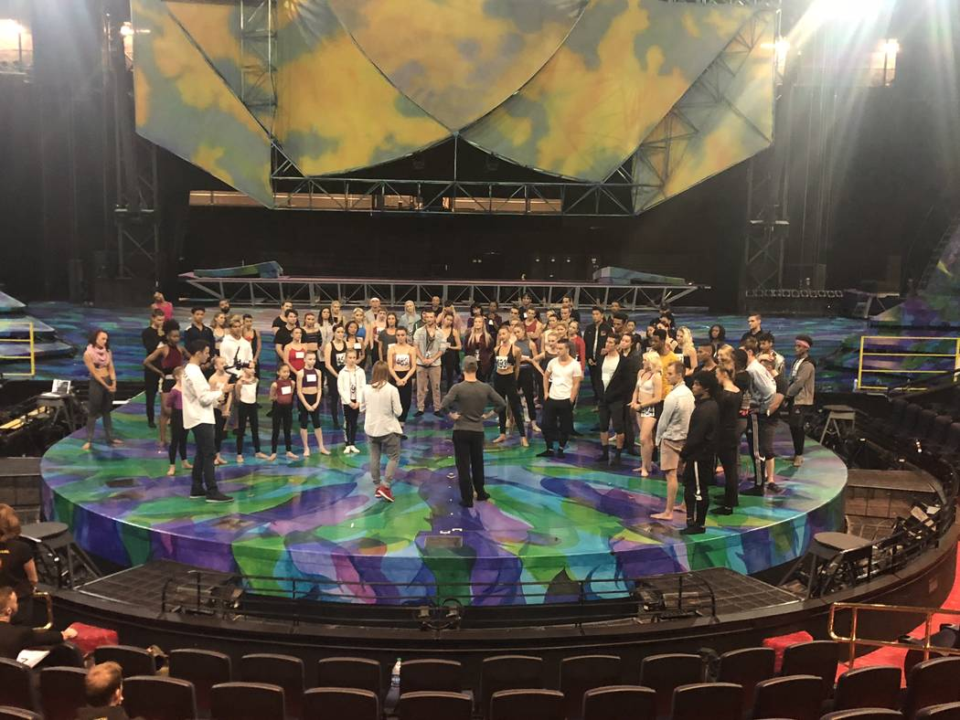 """Andre Kasten and Leah Moyer assemble the cast of """"One Night for One Drop"""" during artists' auditions on Nov. 4, 2018. The show's seventh installment is set for March 8 at Bellagio's O Theatre. (Joh ..."""