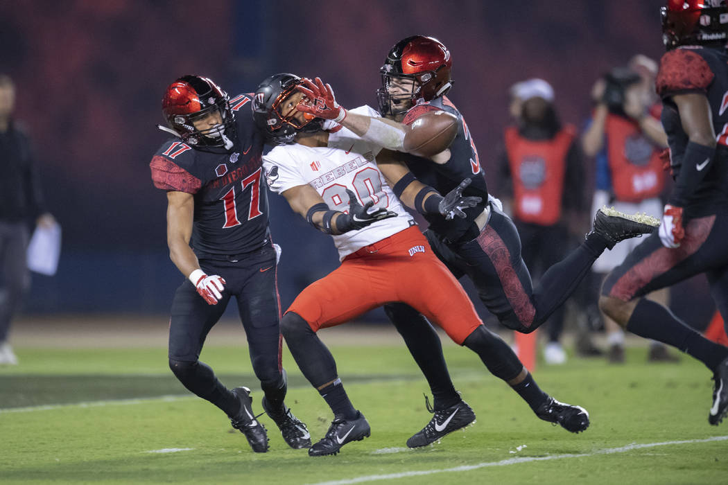 SAN DIEGO, CA - NOVEMBER 10: UNLV Rebels wide receiver Brandon Presley (80) catches a long pass during a NCAA football game between the UNLV Rebels and the San Diego State Aztecs on November, 10, ...