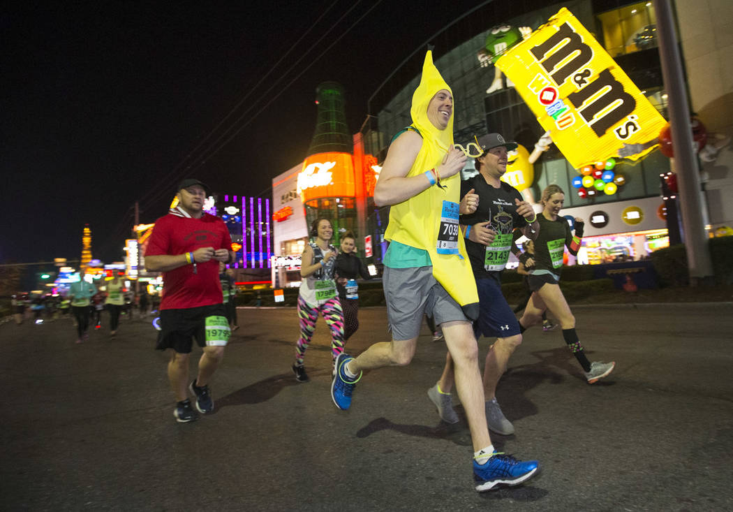 A runner in a banana costume participates in the 2018 Rock 'n' Roll Marathon on the Strip in Las Vegas on Sunday, Nov. 11, 2018. Richard Brian Las Vegas Review-Journal @vegasphotograph