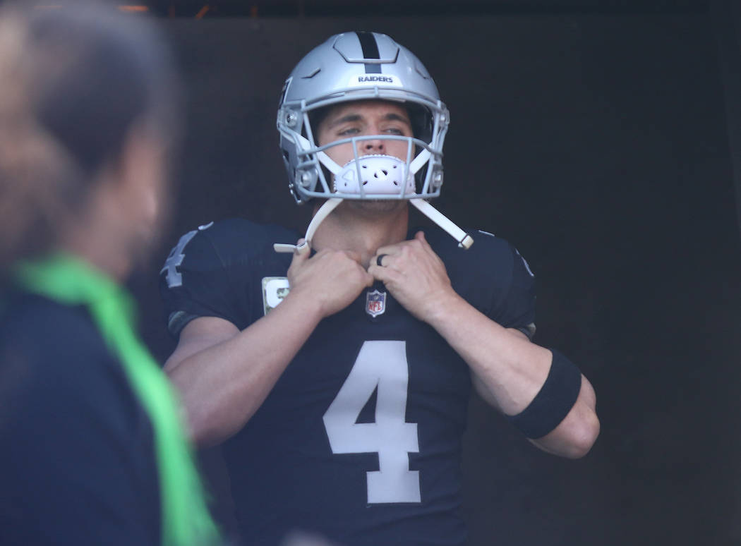 Oakland Raiders quarterback Derek Carr (4) prepares to come on the field prior to the start of an NFL game against the Los Angeles Chargers in Oakland, Calif., Sunday, Nov. 11, 2018. Heidi Fang La ...