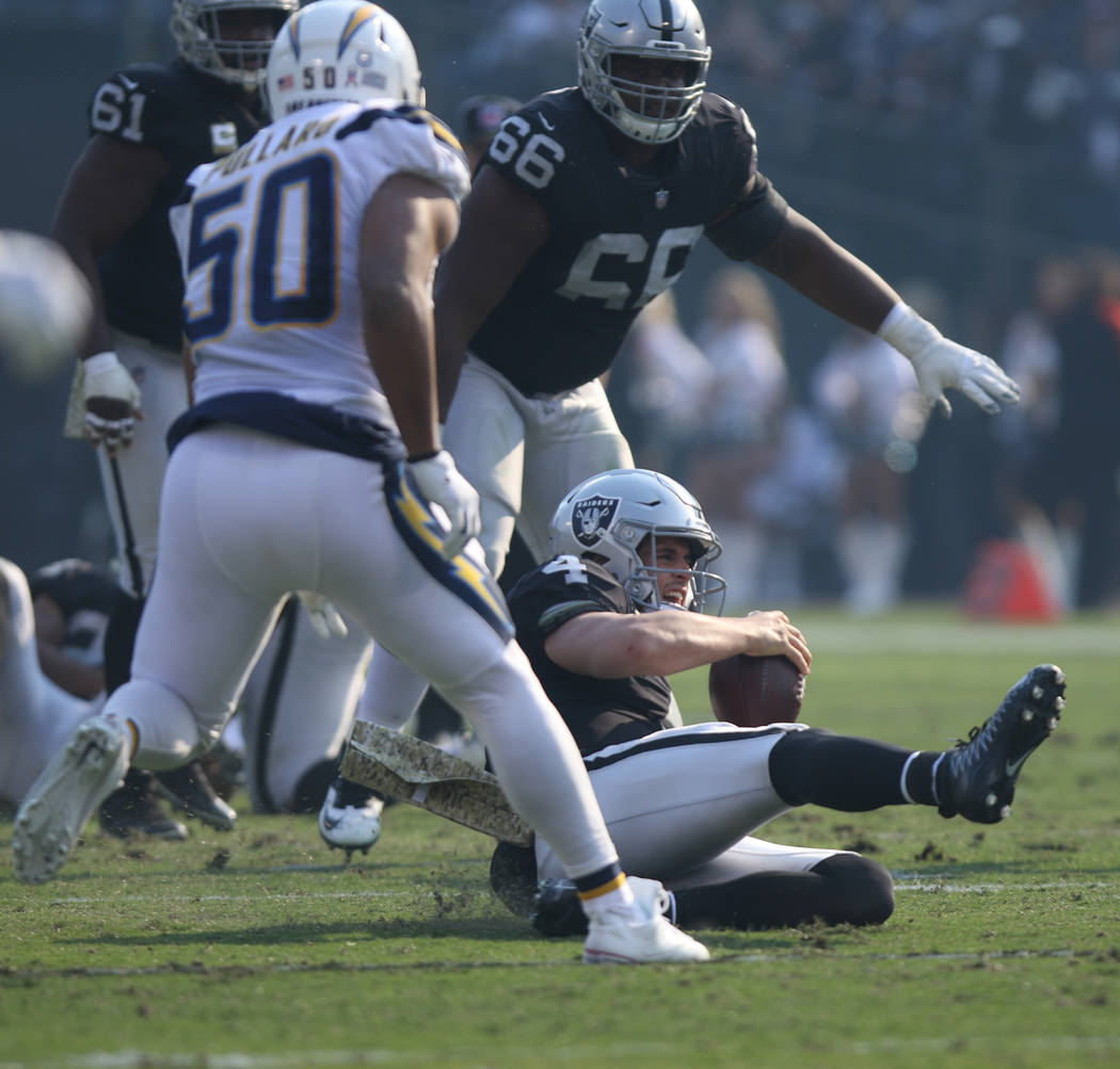 Oakland Raiders quarterback Derek Carr (4) slides after scrambling during the first half of their NFL game against the Los Angeles Chargers in Oakland, Calif., Sunday, Nov. 11, 2018. Heidi Fang La ...