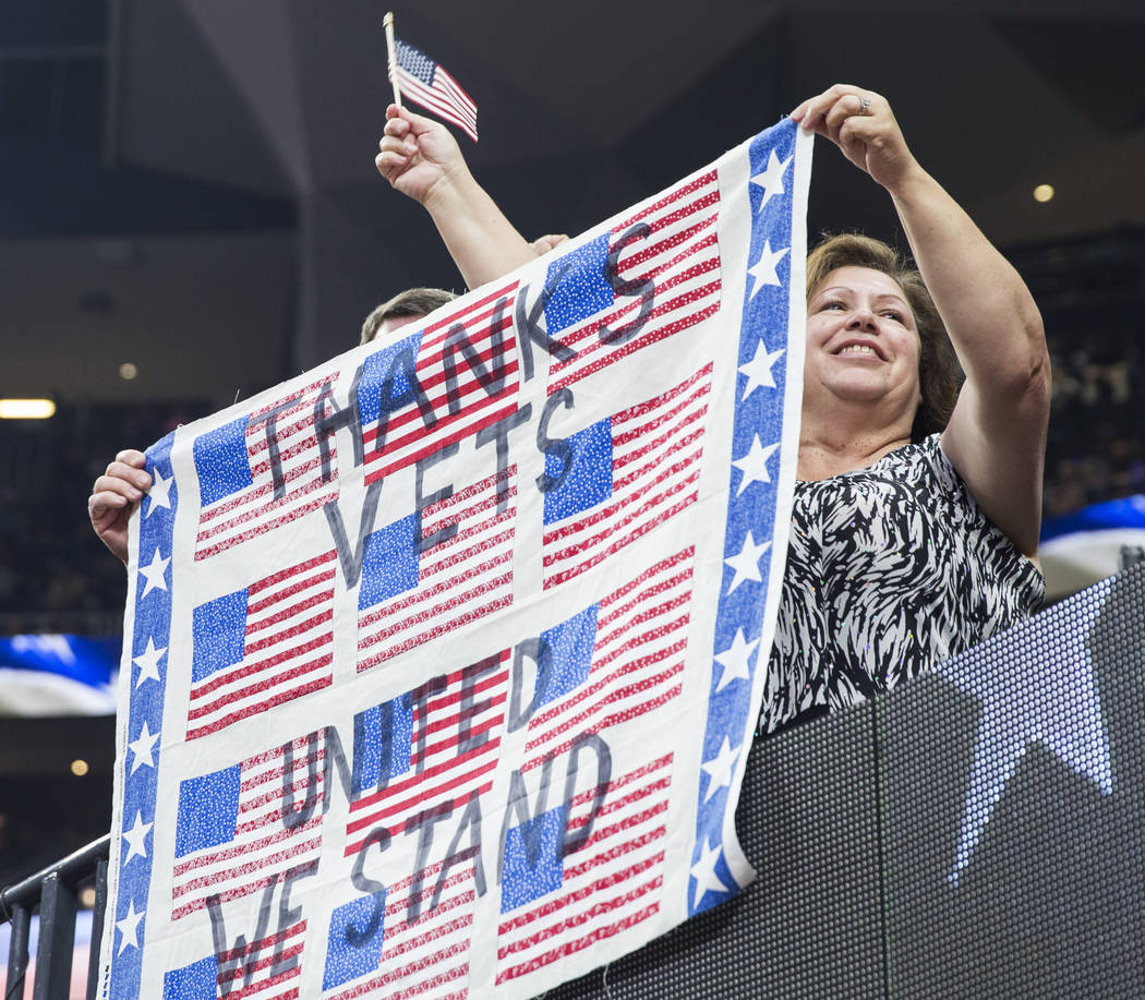 A fan holds a sign thanking veterans during the Professional Bull Riders World Finals on Sunday, November 11, 2018, at T-Mobile Arena, in Las Vegas. Benjamin Hager Las Vegas Review-Journal