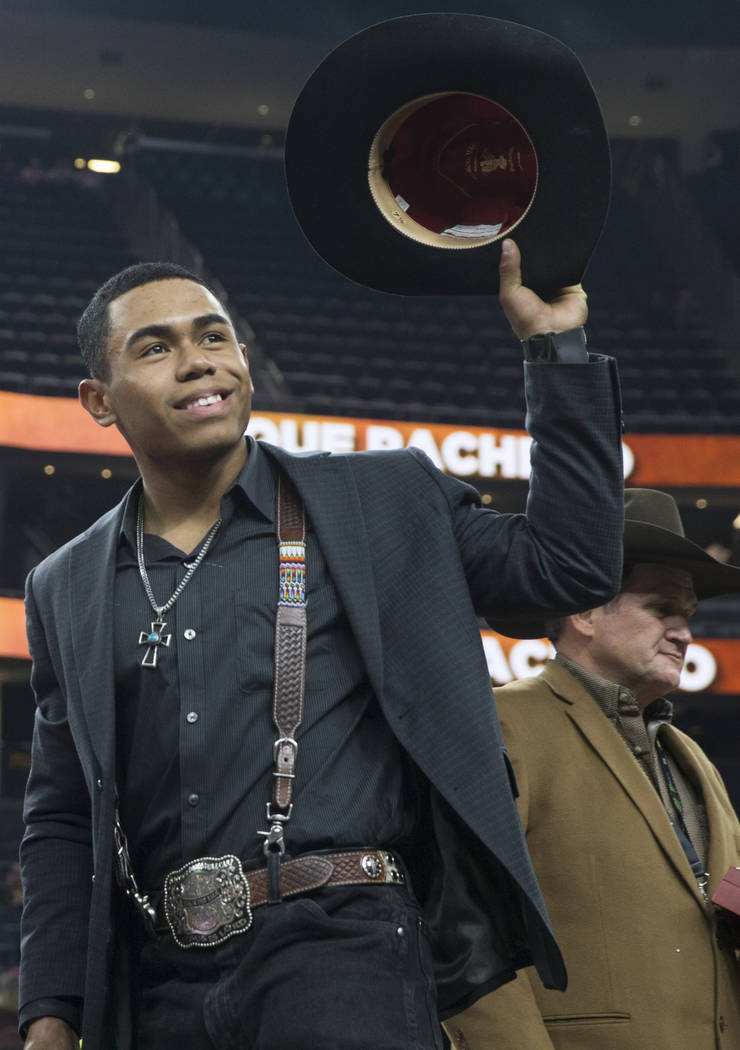 Keyshawn Whitehorse salutes the crowd after being named Professional Bull Riders Rookie of the Year on Sunday, November 11, 2018, at T-Mobile Arena, in Las Vegas. Benjamin Hager Las Vegas Review-J ...