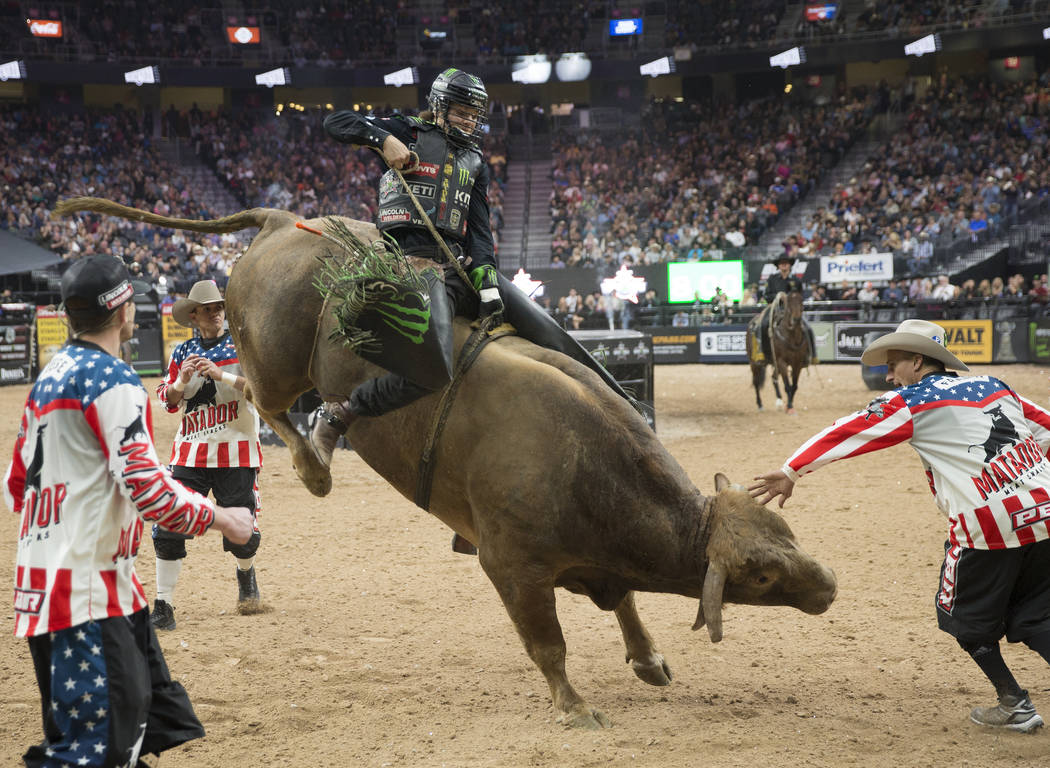 "Derek Kolbaba rides ""Cochise"" during the Professional Bull Riders World Finals on Sunday, November 11, 2018, at T-Mobile Arena, in Las Vegas. Benjamin Hager Las Vegas Review-Journal"