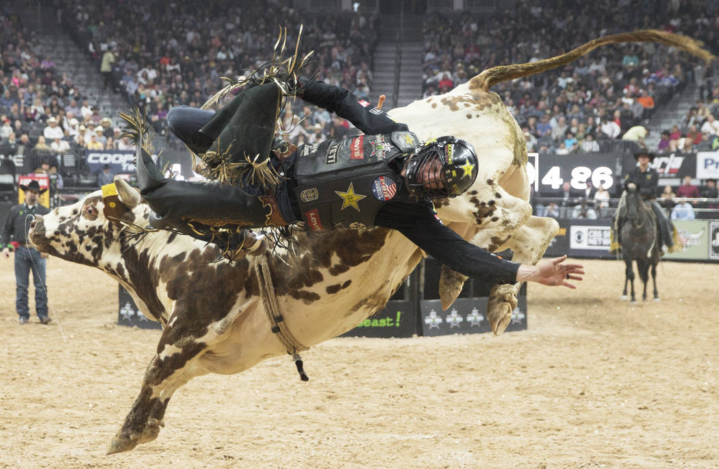 "Cody Teel rides ""M.A.G.A."" during the Professional Bull Riders World Finals on Sunday, November 11, 2018, at T-Mobile Arena, in Las Vegas. Benjamin Hager Las Vegas Review-Journal"
