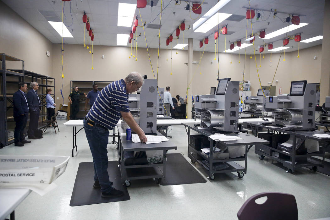 Elections staff prepare for a recount at the Broward County Supervisor of Elections office during on Sunday, Nov. 11, 2018, in Lauderhill, Fla. (AP Photo/Brynn Anderson)